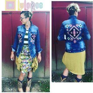 LuLaRoe Jaxon Tribal Denim Blue Jean Jacket